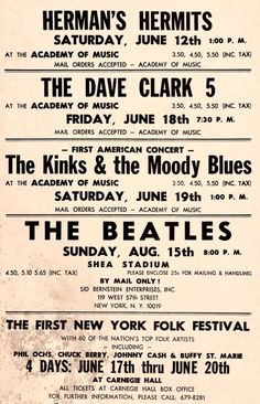 British Invasion bands playing at U.S. locations, including Carnegie Hall, 1965.