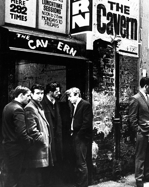 The Cavern, the line up to watch the lunch time sessions.