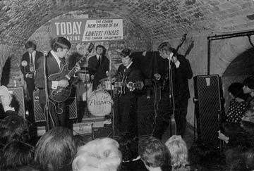 Merseybeat on the move. A Liverpool band at the Cavern.